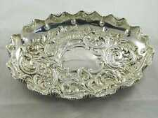 Antique 1896 Fluted & Embossed Silver tray Feast for the eyes! By Fenton Bro bat