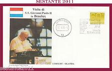 W151 VATICANO FDC ROMA VISITA PAPA GIOVANNI PAOLO II BENELUX OLANDA UTRECHT 1985
