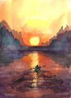 ACEO sunset river boat landscape original watercolor painting art card signed