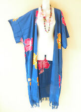 Blue Plus Size Cardigan Duster Jacket Kimono Maxi Long Cover up- 2X, 3X, 4X & 5X
