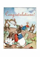 Wedding: Bunnies Kissing in Garden - Engagement Greeting Card (6 Cards...