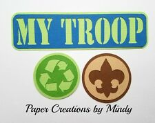 Craftecafe Mindy My Troop Boy Scout premade paper piecing scrapbook title