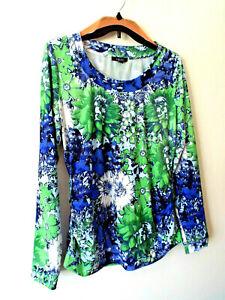 ***CARLISLE Sz L floral blue green TOP multicolor!!