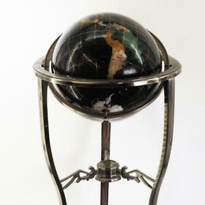 Vintage Semi Precious Stone Inlaid Globe Blue Lapis Gold Stand with Compass