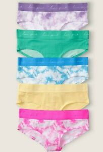 Victoria Secret PINK Cotton Hipster Panty 5 Pack Logo Multicolor XXL NEW Lot 2XL