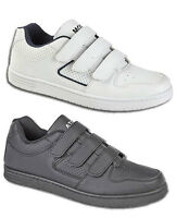 Mens Touch Fasten Sports Casual Black White Trainers Shoes Size 6 7 8 9 10 11 12