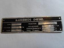 Placa de identificación escudo Barreiros Hanomag tractor Oldtimer s4
