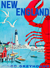 New England Go Greyhound United States Travel Advertisement Art Poster Bus