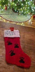 Holiday Home Christmas Stocking Good Dog Red Plush Black Embroidered Paw Prints