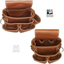 DELUXE LEATHER TOOL POUCHES - Amish Construction Left & Right Work Belt Bag USA