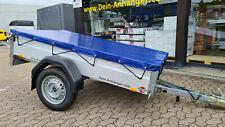 Anhängerplane Flachplane mit Gummigurt für Stema PKW Anhänger Blau 201x107cm
