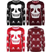 Womens Ladies Skull Skeleton Face Scary Knitted Jumper Sweater Sweats Top
