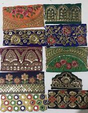 10 Pcs  Trim Indian Fabric Sari Snippets Scraps Boho Embellishments
