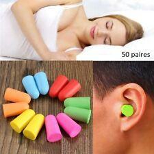 lot de 50 paires de bouchons d'oreilles multicolores anti brut sommeil voyages