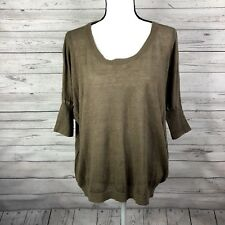 J. Crew Womens Drop Shoulder Swing Sweater Size Small Brown Taupe 100% Linen
