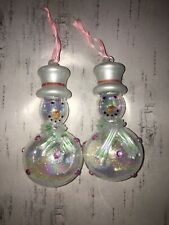 Two Vintage Christmas Glass Glitter Snowman Ornaments Baubles Hanging Decoration