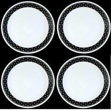 "New! Set of 4 Corelle Livingware Brilliant Black Dots 10 1/4"" Dinner Plates"