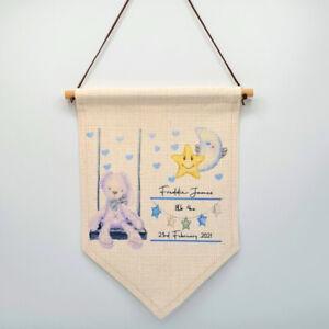 Personalised New Baby Boy Birth Stats Wall Hanging, Nursery Decor