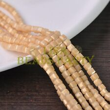 New 100pcs 4mm Cube Square Gold Foil Glass Loose Spacer Beads Beige