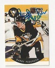 90/91 Pro Set Autographed Hockey Card Barry Pederson Pittsburgh Penguins