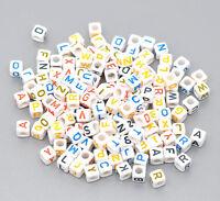 "New: 500 Weiß Acryl Buchstaben""A-Z"" Würfel Perlen Spacer Beads 6x6mm"