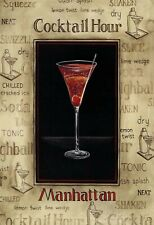 Cocktail Hour Manhattan Tin Sign Shield Arched Tin Sign 20 x 30 cm FA0990