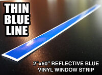 "2x60"" THIN BLUE LINE WINDSHIELD STRIP Window Decal Sticker Police Lives Matter"