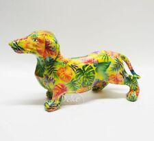 POMME PIDOU - exklusive Spardose - Keramikfigur DACKEL FRANKIE hellgrün / Farne