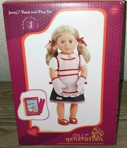 Our Generation Doll by Battat Jennys cooking outfit and reading book Shoes Apron