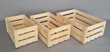 Wooden Crates Boxes 3 in 1 Size Storage Fruit Vegetables Plain Wood Box Craft