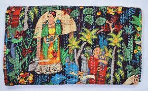 Indian Cotton Handmade Ethnic King Size Bedding Kantha Quilt Bedspread Coverlet