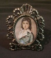"Vintage Mini PICTURE FRAME Silver Tone Victorian Style BLUE BOY Photo 2.5"" NEW"