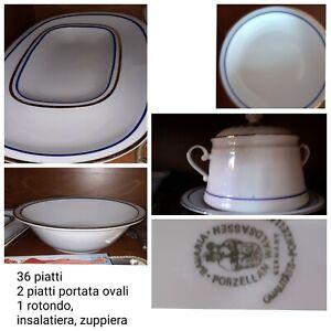 Servizio piatti porcellana bavaria inserto blu e oro zecchino