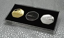 Trio of RMS TITANIC Silver and 24ct Gold Commemoratives in 50p Coin Display Case