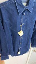 Stubbs Womens Western Long Sleeve NAVY DENIM Shirt SMALL LS w/Metal Buttons NEW