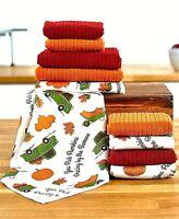 10 pc Microfiber Kitchen Towels Set Pumpkin Patch Lint-Free Absorbent Quick Dry