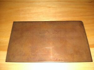 """Antique Copper Engraving Plate """"Lois Y. Gass"""" For Calling Card - 3"""" x 1.75"""""""