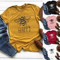 Women Happy Bee Pattern Print Short Sleeve T-Shirts Summer Casual Shirts Tops