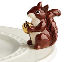 Nora Fleming Mr Squirrel Mini with Golden Acorn Entertaining Ceramic Charm A215
