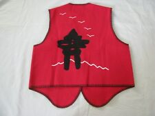 IVALU M Vest Red Wool Blend w Black Applique Trim Inuit Canada Wearable Art NWT