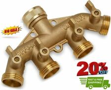 New listing Morvat Updated Heavy Duty All Brass Garden Hose Splitter 4-Way Garden Hose Ad.