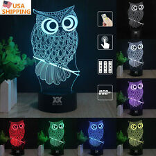 Harry Potter Owl 3D LED Night light 7 Color Touch Table Desk Art Lamp Xmas Gift