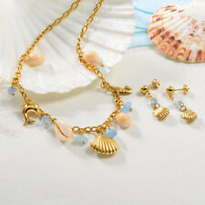 Gold Plated Aquamarine Natural Stone Jewelry Set Stainless Steel Ocean Jewelry