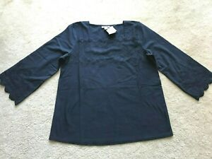 NEW NWT J JILL  100% cotton top 3/4 sleeves embroidered trim S SMALL 4 6 navy