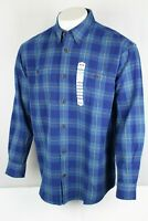 Duluth Men's Free Swingin' Flannel Shirt Size Large Bright Indigo Plaid 52007