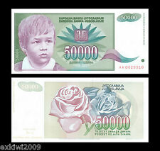 Jugoslavia 50.000 DINARA 1992 p-117 1st prefisso MINT UNC banconote UNCIRCULATED
