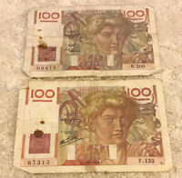 Lot Of 2 X French Banknotes. 100 Francs. Dated 1946 & 47. Vintage Set.