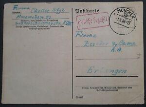 1945 Germany Gebuhr Bezahlt Postcard cancelled Munich to Erlangen