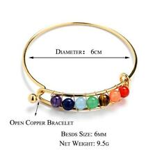 Pure Natural 6 MM Round Beads Stone Bracelet Colorful Chakras Copper-plated Lady