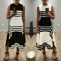 Women's Casual Stripe Sleeveless Dress Round Neck Vestido Mid-Calf Party Dress